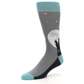 Image of Grey Teal Howling Wolves Men's Dress Socks (side-2-09)
