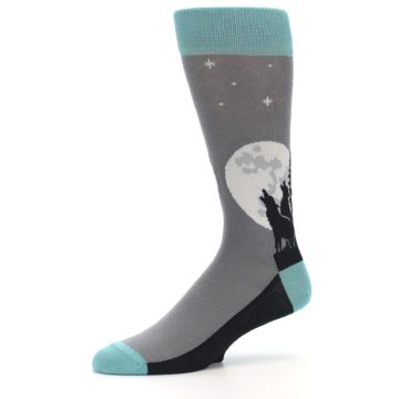 Image of Grey Teal Howling Wolves Men's Dress Socks (side-2-10)
