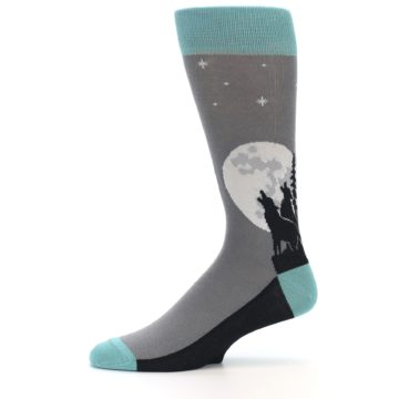 Image of Grey Teal Howling Wolves Men's Dress Socks (side-2-11)