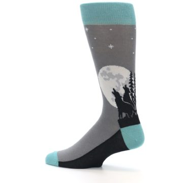 Image of Grey Teal Howling Wolves Men's Dress Socks (side-2-13)