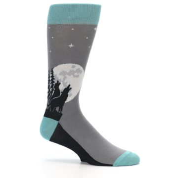 Image of Grey Teal Howling Wolves Men's Dress Socks (side-1-25)