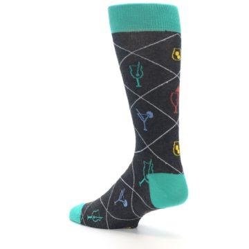 Image of Multi-Color Cocktail Men's Dress Socks (side-2-back-14)