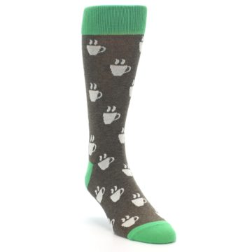 Image of Light Brown Green Coffee Men's Dress Socks (side-1-front-02)