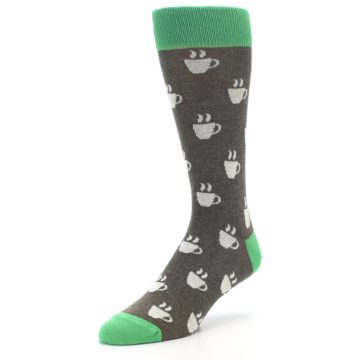 Image of Light Brown Green Coffee Men's Dress Socks (side-2-front-08)