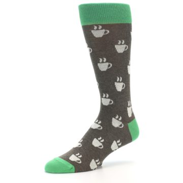 Image of Light Brown Green Coffee Men's Dress Socks (side-2-09)