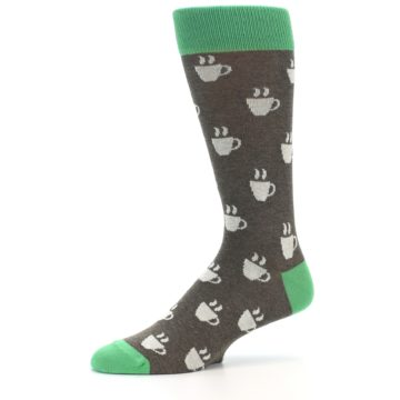 Image of Light Brown Green Coffee Men's Dress Socks (side-2-10)