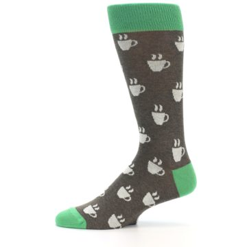 Image of Light Brown Green Coffee Men's Dress Socks (side-2-11)