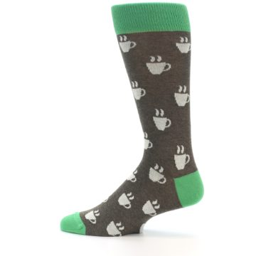 Image of Light Brown Green Coffee Men's Dress Socks (side-2-12)
