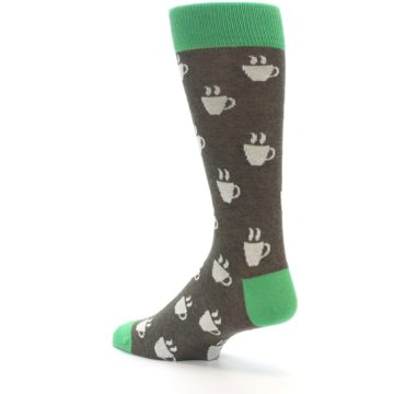 Image of Light Brown Green Coffee Men's Dress Socks (side-2-back-14)