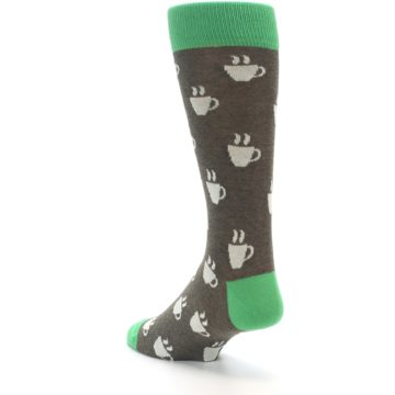 Image of Light Brown Green Coffee Men's Dress Socks (side-2-back-15)