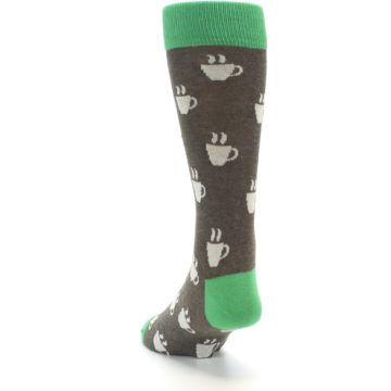 Image of Light Brown Green Coffee Men's Dress Socks (side-2-back-16)