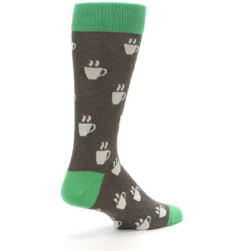 Image of Light Brown Green Coffee Men's Dress Socks (side-1-back-22)