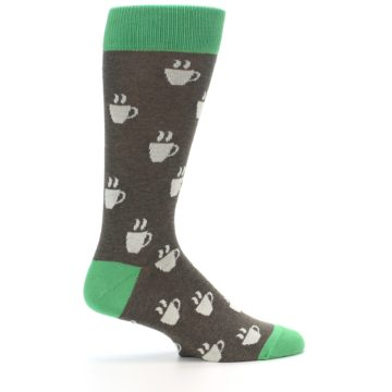 Image of Light Brown Green Coffee Men's Dress Socks (side-1-24)