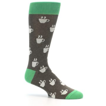 Image of Light Brown Green Coffee Men's Dress Socks (side-1-25)