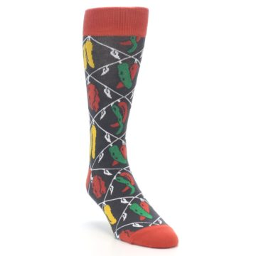Image of Red Grey Spicy Peppers Men's Dress Socks (side-1-front-02)