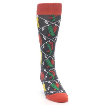 Image of Red Grey Spicy Peppers Men's Dress Socks (side-1-front-03)