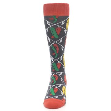 Image of Red Grey Spicy Peppers Men's Dress Socks (front-05)