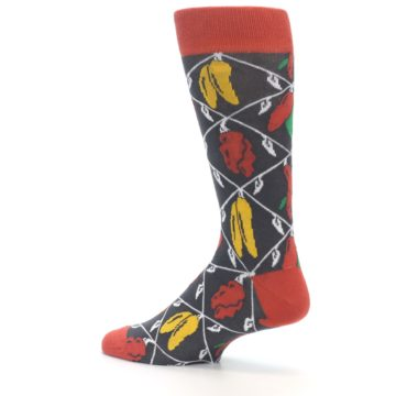 Image of Red Grey Spicy Peppers Men's Dress Socks (side-2-13)