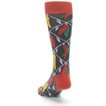 Image of Red Grey Spicy Peppers Men's Dress Socks (side-2-back-16)