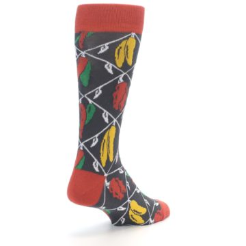 Image of Red Grey Spicy Peppers Men's Dress Socks (side-1-back-21)