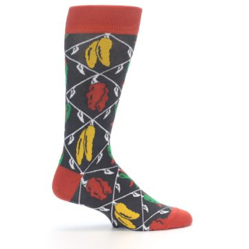 Image of Red Grey Spicy Peppers Men's Dress Socks (side-1-24)