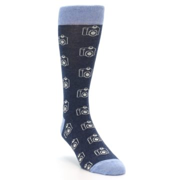 Image of Heathered Blue Photography Camera Men's Dress Socks (side-1-front-02)