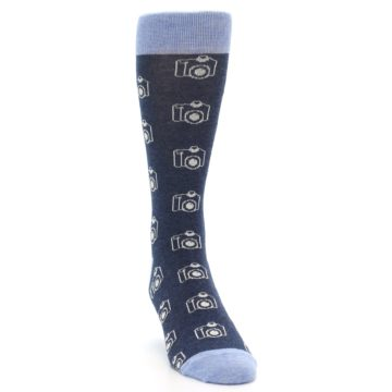 Image of Heathered Blue Photography Camera Men's Dress Socks (side-1-front-03)