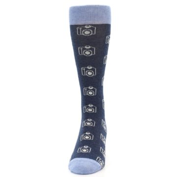 Image of Heathered Blue Photography Camera Men's Dress Socks (front-05)