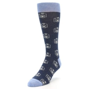 Image of Heathered Blue Photography Camera Men's Dress Socks (side-2-front-07)