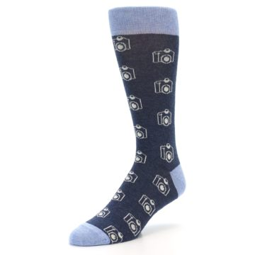 Image of Heathered Blue Photography Camera Men's Dress Socks (side-2-front-08)