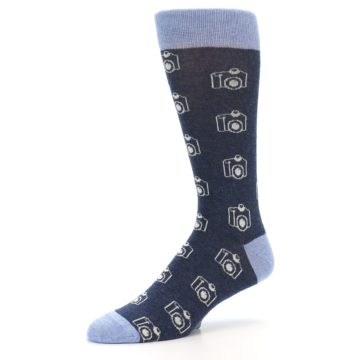 Image of Heathered Blue Photography Camera Men's Dress Socks (side-2-09)