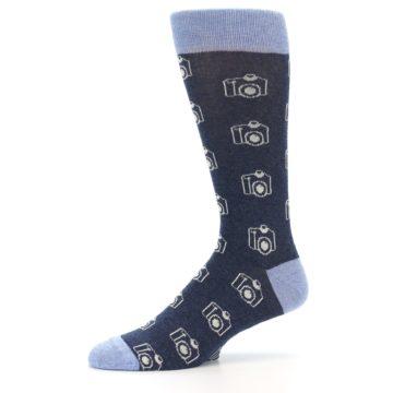 Image of Heathered Blue Photography Camera Men's Dress Socks (side-2-10)