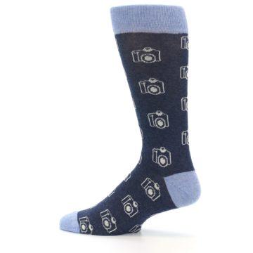 Image of Heathered Blue Photography Camera Men's Dress Socks (side-2-12)