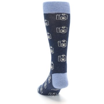 Image of Heathered Blue Photography Camera Men's Dress Socks (side-2-back-16)
