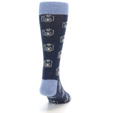 Image of Heathered Blue Photography Camera Men's Dress Socks (back-19)