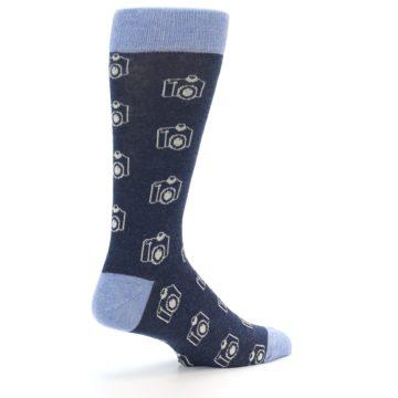Image of Heathered Blue Photography Camera Men's Dress Socks (side-1-back-22)