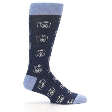 Image of Heathered Blue Photography Camera Men's Dress Socks (side-1-24)