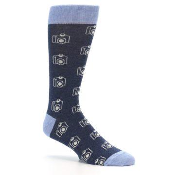 Image of Heathered Blue Photography Camera Men's Dress Socks (side-1-26)