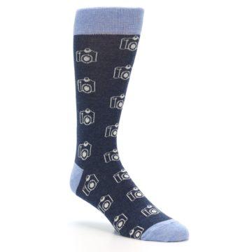 Image of Heathered Blue Photography Camera Men's Dress Socks (side-1-27)