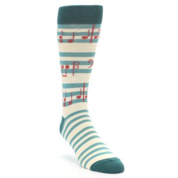 Image of Teal Music Notes Men's Dress Socks (side-1-front-02)