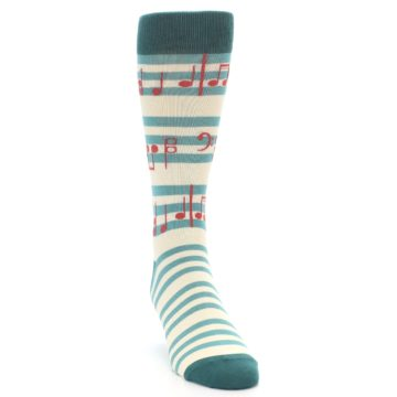 Image of Teal Music Notes Men's Dress Socks (side-1-front-03)