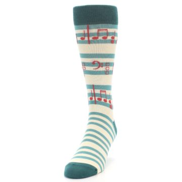 Image of Teal Music Notes Men's Dress Socks (side-2-front-06)