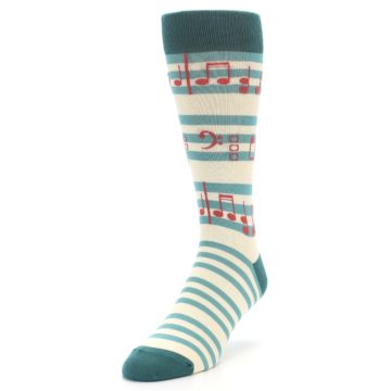 Image of Teal Music Notes Men's Dress Socks (side-2-front-07)