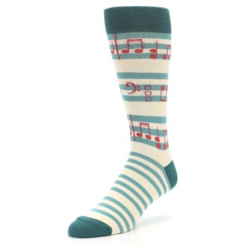 Image of Teal Music Notes Men's Dress Socks (side-2-front-08)