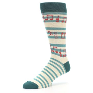 Image of Teal Music Notes Men's Dress Socks (side-2-09)