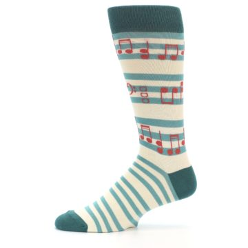 Image of Teal Music Notes Men's Dress Socks (side-2-11)