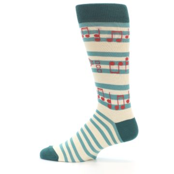 Image of Teal Music Notes Men's Dress Socks (side-2-12)
