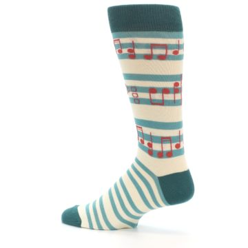 Image of Teal Music Notes Men's Dress Socks (side-2-13)