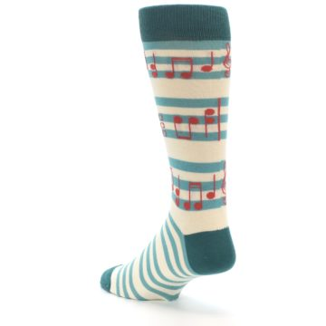 Image of Teal Music Notes Men's Dress Socks (side-2-back-15)