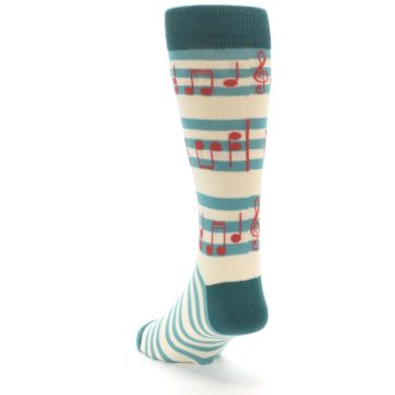 Image of Teal Music Notes Men's Dress Socks (side-2-back-16)